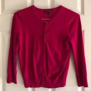 Hot pink colored women's cardigan